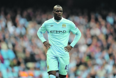 Mario Balotelli of Manchester City looks on during the Barclays Premier League match between Manchester City and Aston Villa at the Etihad Stadium on October 15, 2011 in Manchester, England.  (Photo by Michael Regan/Getty Images)