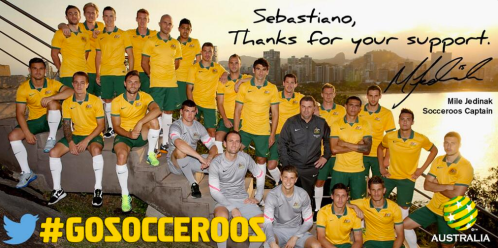 Thanks for your support. Here's a signed @Socceroos team photo from Mile Jedinak #GoSocceroos