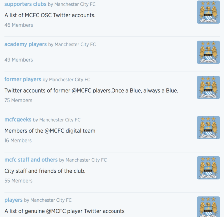 Example of Twitter lists by Manchester City FC