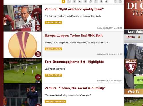 The Torino FC website newsfeed