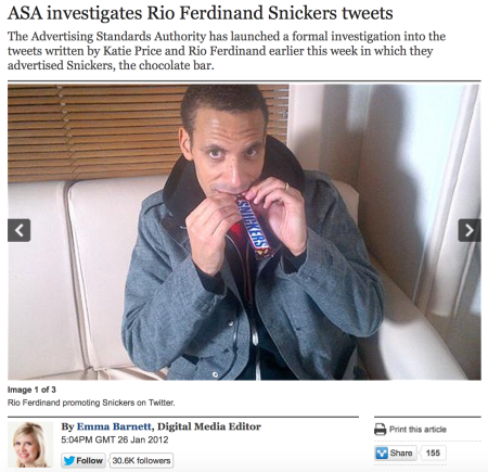 Rio Ferdinand on Twitter with Snicker
