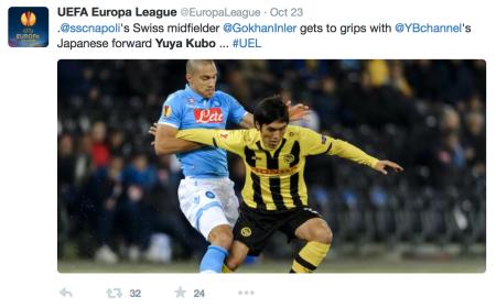 Yuya Kubo against Gökan Inler in the UEFA Europa League 2014-15