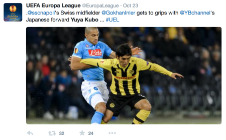 Yuya Kubo against Gökan Inler in the UEFA Europa League 2014-15