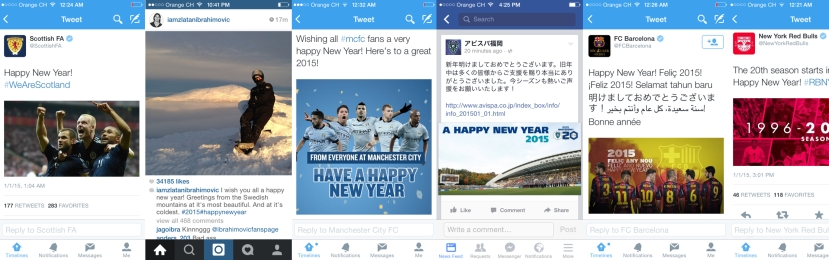 A selection of Happy New Year wishes by football brands