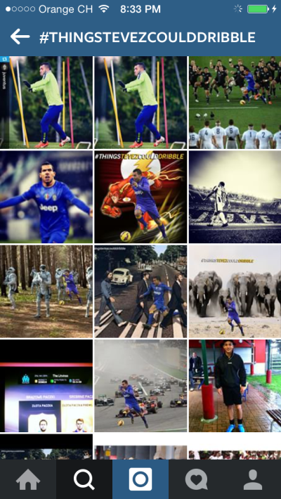 Examples from a hashtag search done on Instagram – #ThingsTevezCouldDribble