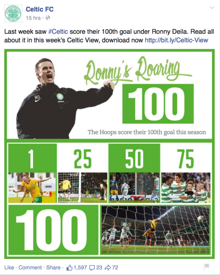 Celtic FC's «Ronny's Roaring 100» Facebook post