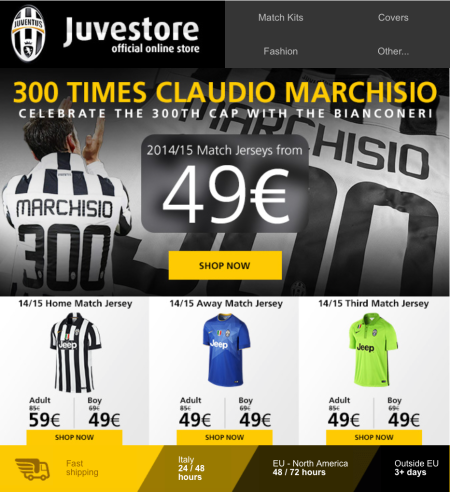 JuveStore - 300 times Cladio Marchisio email