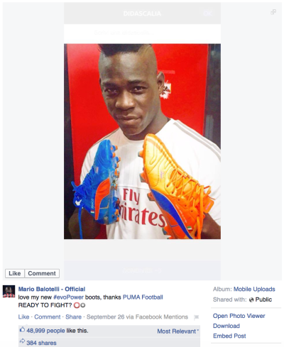 Mario Balotelli New Puma Facebook
