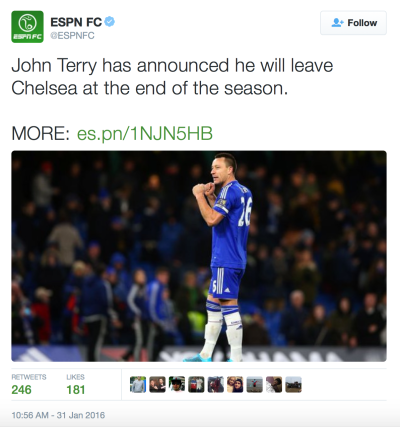 John Terry will leave Chelsea FC | Source: twitter.com/espnfc