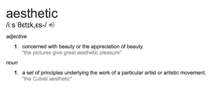 Google search on the adjective 'aesthetic'